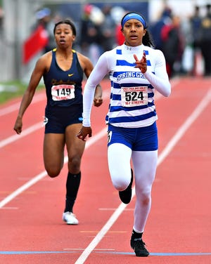 Spring Grove's Laila Campbell wins the girls' 200-meter dash event at 24.27 during PIAA Class 3-A Track and Field Championship action at Shippensburg University, Saturday, May 29, 2021. Dawn J. Sagert photo