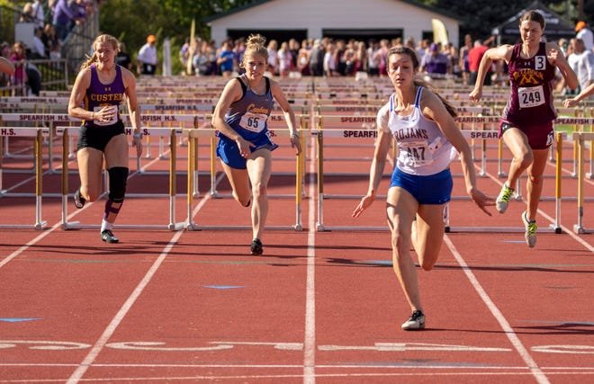 West Central senior Averi Schmeichel crosses the finish line for the 100 meter hurdles event during the Class A State Track and Field Meet on Friday in Spearfish.