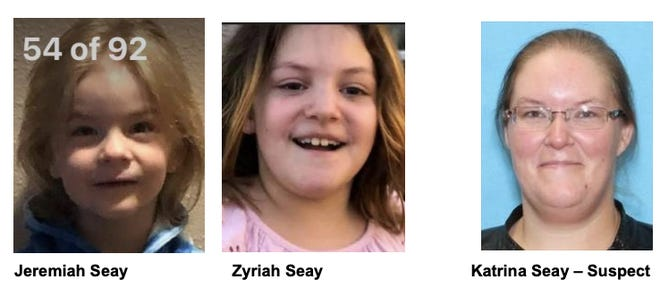 Jeremiah and Zyriah Seay are believed to be abducted by Katrina Seay.
