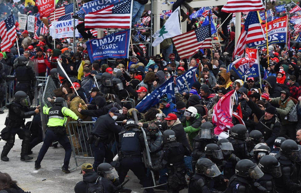 Trump supporters clash with police and security forces as they storm the Capitol in Washington  on Jan. 6.