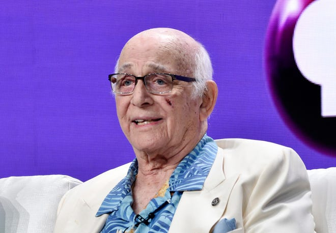"""File - File photo shows actor Gavin McLeod during a panel discussion on a PBS special this July 31, 2018 """"Betty White: Television's First Lady"""" Gavin McLeod has passed away during the 2018 Television Critics Association Summer Press Tour at the Beverly Hilton in Beverly Hills, California.  His nephew told the trade paper Variety that McLeod died early on Saturday, May 29, 2021."""