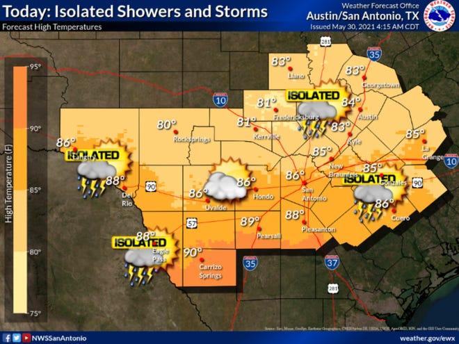 The National Weather Service Sunday forecast.