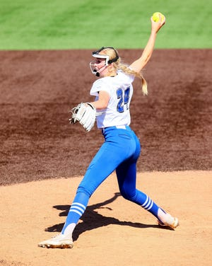 Georgetown pitcher Cambree Creager tossed wins in the second and deciding games of the Eagles' series victory over No. 1 Leander on Saturday. The Eagles will play Aledo in the Class 5A semifinals Friday at 1 p.m.