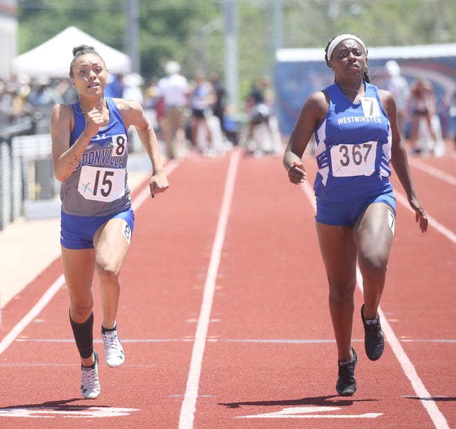 Boonville senior Jodie Bass crosses the finish line in the first heat in the 100 meter dash during the Class 3 State Track Meet Saturday at Adkins Stadium in Jeff City. Bass finished 11th overall in 13.11 seconds.