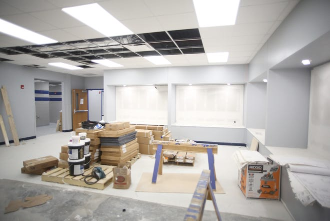 The new addition connecting Boonville High School and B-Tech is close to being completed. The Phase 1 project will include six classrooms, new bathrooms and a display area in the commons for trophies.