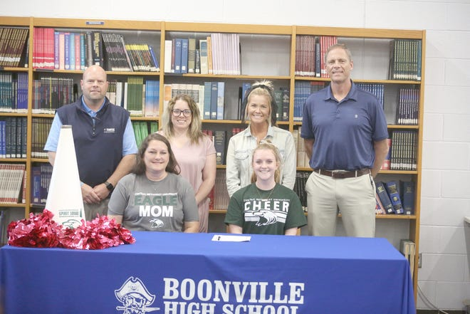 Boonville senior Gracie Sadler signed a cheerleading letter of intent last Wednesday with Central Methodist University in Fayette. On hand during the signing were (front row, left to right) Renee Telker and Gracie Sadler. (back row, left to right) Boonville Athletic Director Chris Shikles, Boonville Cheerleading coach Abby Arnette, CMU cheerleading coach Terin Fuemmeler and Boonville Principal Tim Edwards.