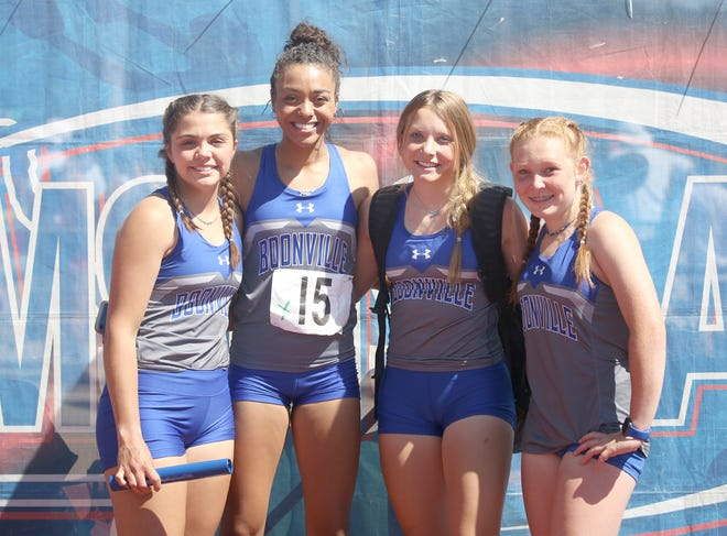 The Boonville girls 4 x 100 meter relay team finished 10th out of 16 teams in a time of 51.96 seconds during the Class 3 State Track Meet Saturday at Adkins Stadium in Jefferson City. Members of the 4 x 100 team for Boonville were (left to right) Daylynn Baker, Jodie Bass, Alison Eichelberger and Kylee Turner.