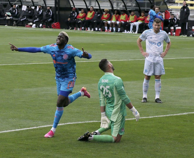 """Crew striker Gyasi Zerdes celebrates his goal in Saturday's 2-1 win. Said coach Caleb Porter: """"We're just getting better and better, exactly what I told you would happen with our training."""""""