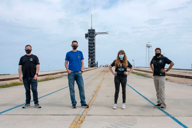 In this photo provided by SpaceX, from left, Chris Sembroski, Jared Isaacman, Hayley Arceneaux and Sian Proctor pose for a photo, Monday, March 29, 2021, at the SpaceX launch pad at NASA's Kennedy Space Center at Cape Canaveral, Fla. Their private flight is scheduled for September 2021.  - 53bfb2a6 c9da 425b 9d3b 37083316226d Space Anniversary 29589 - Space travel possible for an astronomical price