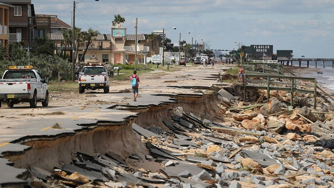 Hurricane Matthew in October 2016 caused extensive damage to State Road A1A in Flagler Beach.
