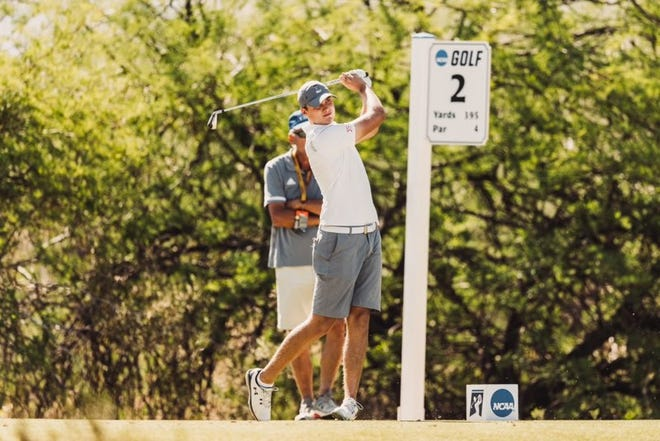 Texas Tech golfer Ludvig Aberg hits a tee shot during Sunday's third round of the NCAA championship tournament in Scottsdale, Arizona. The sophomore from Sweden shot 1-under 69 on the Grayhawk Golf Club Raptor Course.