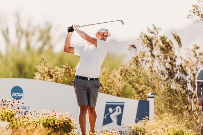 Texas Tech golfer Kyle Hogan hits a tee shot during Sunday's third round of the NCAA championship tournament at Grayhawk Golf Club in Scottsdale, Arizona.