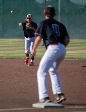 Shallowater's Beau Brockman (16) throws the ball to Breken Ramos (8) for an out at first base May 29 at Christensen Stadium in Midland.