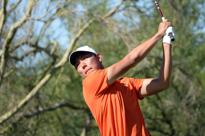 OSU's Bo Jin tees off on the ninth during the NCAA Men's Golf Championship at Grayhawk Golf Club on Saturday in Scottsdale, Ariz.