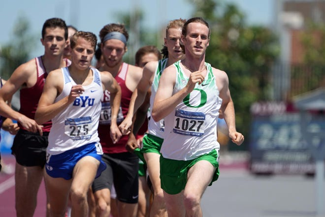 Cole Hocker of Oregon wins his 1,500 quarterfinal heat in 3:38.29 Saturday during the NCAA West Preliminary at E.B. Cushing Stadium in College Station, Texas.