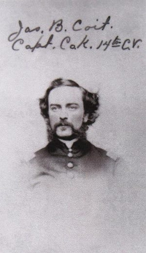 Capt. James B. Coit led Company K of the 14th Connecticut Volunteers at the Battle of Antietam on Sept. 17, 1862. Coit's command had 20 Norwich men he recruited himself. Coit was wounded twice at Antietam but survived.