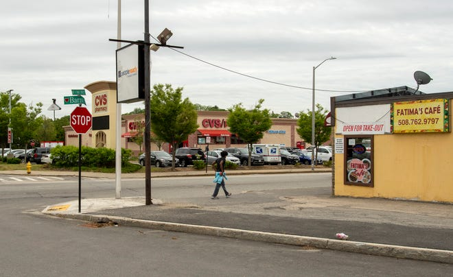 The intersection of West Boylston and Millbrook streets in Worcester as it looks today across the way from Barnes Avenue.