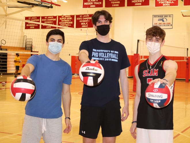 St. John's volleyball captains (from left) Daniel Wickstrom, Spencer Sweeney and Conor McCabe.