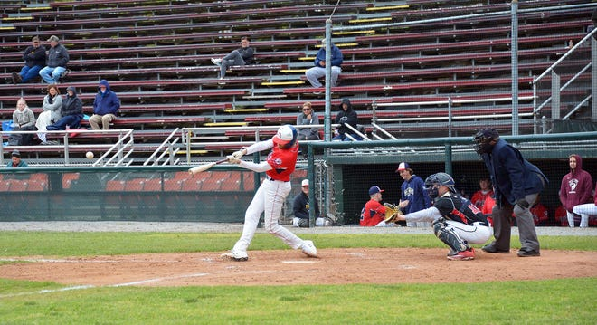 Hagerstown Braves batter Corey Walters hits an RBI single in the fifth inning of the opening game of a South Penn League doubleheader against the North Carroll Panthers on Sunday at Municipal Stadium.