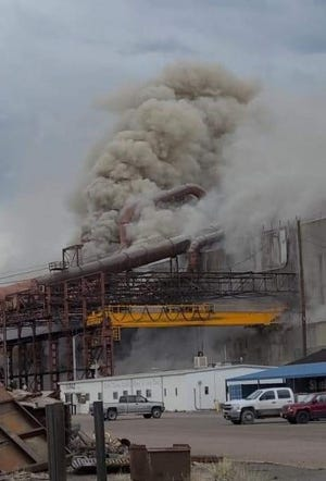 Officials said an eruption inside an electrical furnace at Pueblo's EVRAZ Rocky Mountain location resulted in seven non life-threatening injuries Saturday.