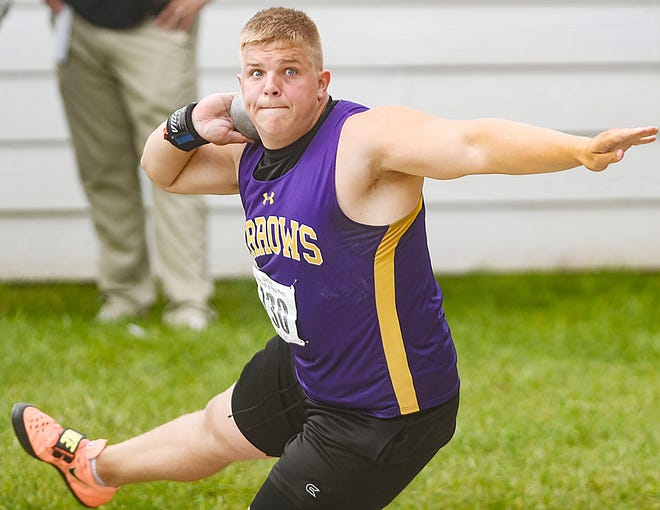 Watertown's Cooper Mack competes in the Class AA boys' shot put at the State Track and Field Meet on Saturday at Woodle Field in Sturgis. Mack closed out his career by winning the event with state-meet record toss of 66 feet and 6.75 inches. Mack also won the discus on Friday and was named the Class AA boys' field athlete of the meet.