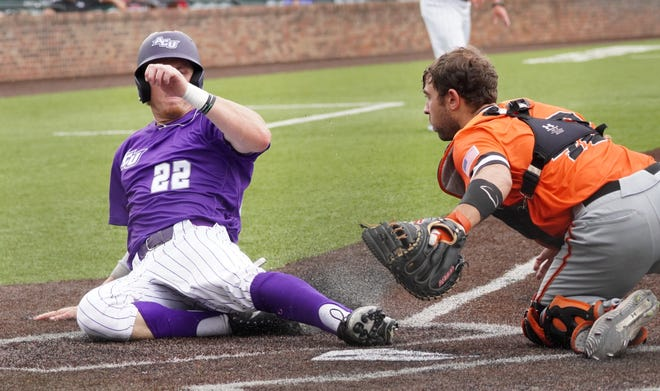 ACU's Grayson Tatrow (22) scores a run for the Wildcats against Sam Houston State. The Bearkats beat ACU 15-13 to eliminate the Wildcats and advance to the Southland Conference tournament finals Saturday, May 29, 2021 in Hammond, Louisiana.
