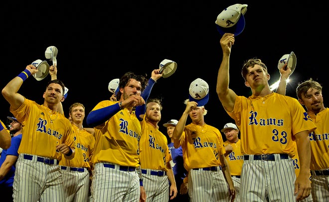 Members of the Angelo State University baseball team recognize the fans after winning the NCAA Division II South Central Regional championship over West Texas A&M University on Saturday, May 29, 2021.