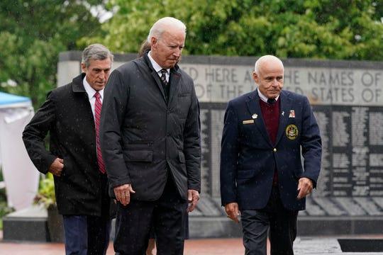 President Joe Biden arrives at Memorial Day event at Veterans Memorial Park at the Delaware Memorial Bridge in New Castle, Del., Sunday, May 30, 2021. (AP Photo/Patrick Semansky)