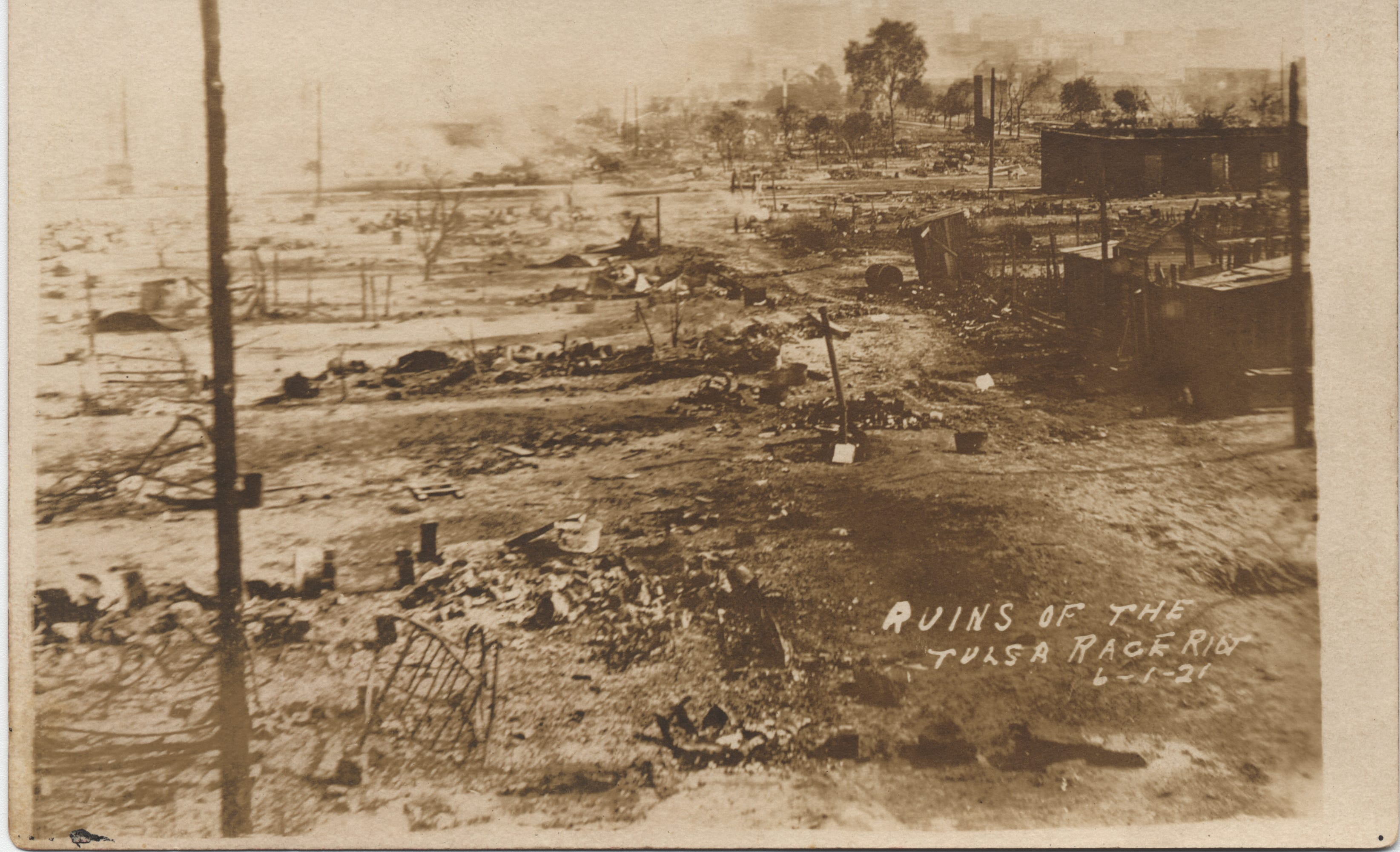 The ruins of Dunbar Elementary School and the Masonic Hall after the Tulsa race massacre.