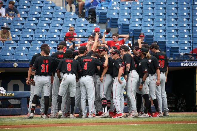 The Georgia baseball team during a game against Ole Miss at the 2021 SEC Baseball Tournament at Hoover Metropolitan Stadium in Hoover, Ala., on Thursday, May 27, 2021. (Photo by Michael Wade)