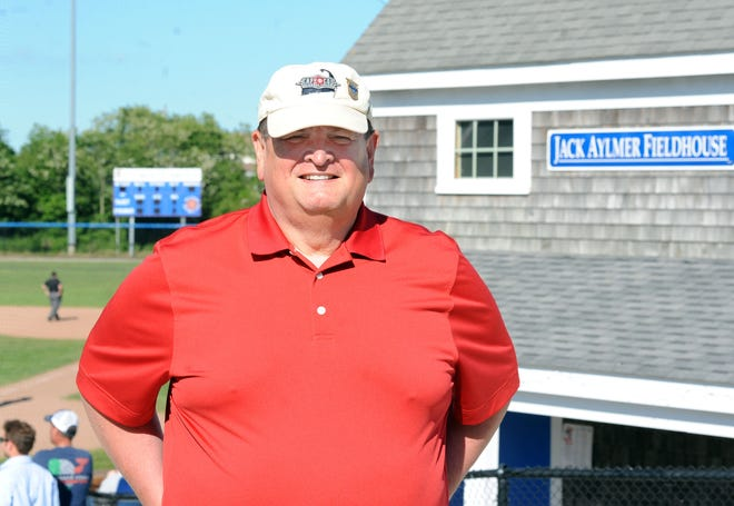 """Former Cape League Commissioner Paul Galop at McKeon Park in Hyannis in 2018. Galop, who died last week at age 68, was the longest-serving commissioner in the history of the league. """"I'll always bleed the red, white and blue of the Cape Cod Baseball League,"""" he often said."""