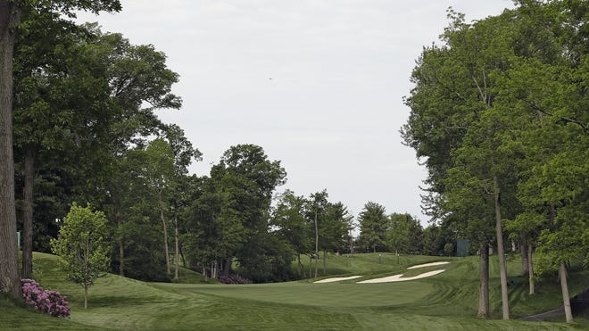 A look at the 15th hole at Muirfield Village Golf Club, which has been redesigned to make the hole longer and remove the hill in the middle of the fairway.