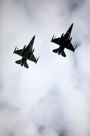 Two F-16 fighter jets fly during a Memorial Day Remembrance Ceremony in Columbus, Ohio. F-16s are expected to return to the skies over Fort Smith in 2023 with the recent announcement from the Air Force that Ebbing Air National Guard Base was chosen as a multi-national training site.