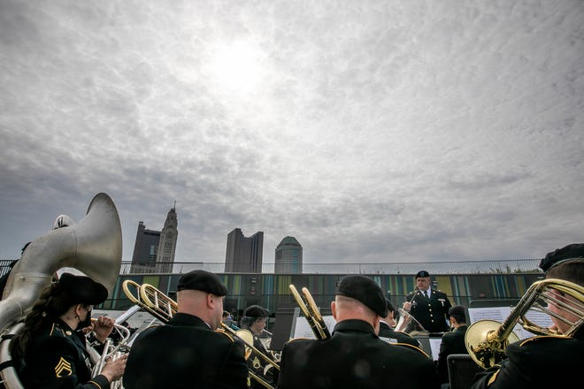 The 338th Army Band opens the Memorial Day Remembrance Ceremony, on the roof top of National Veterans Memorial and Museum, Monday. Hundreds participated in events at the museum throughout the weekend.