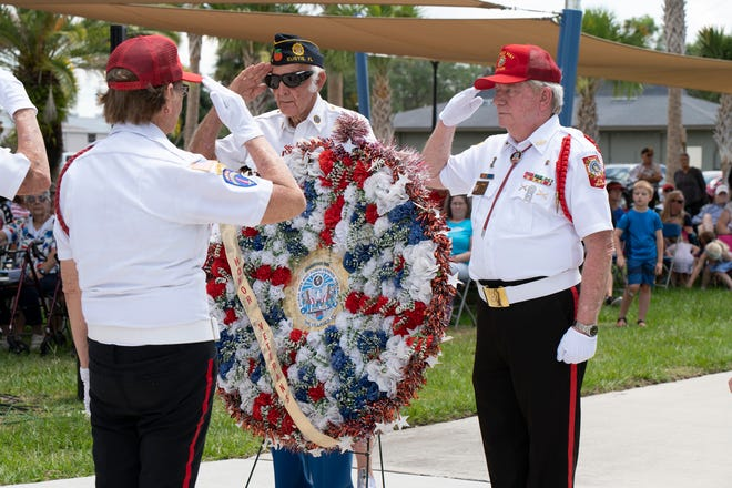 Memorial wreaths are presented at the 12th annual Memorial Day Service in Eustis on Monday. [Cindy Peterson/Correspondent]