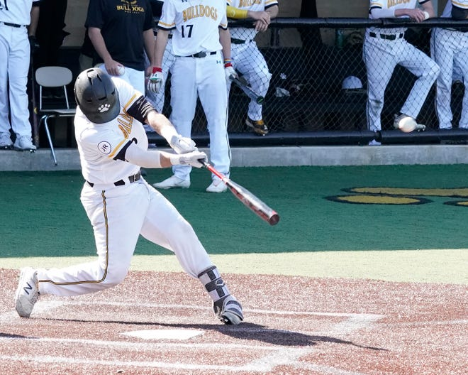 Adrian College's Gunner Rainey (Madison High School) drives a pitch for a home run in a game against Albion on March 31. Rainey had the game-tying hit for the Bulldogs in Monday's NCAA Division III regional championship game against Wisconsin-Whitewater, leading to AC winning the game 7-6.