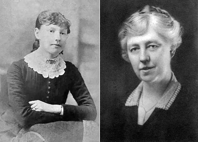 Myra Tubbs at age 14 in Kirkwood, and years later as an influential director of the National Bank of Monmouth, a post she would occupy for 46 years.