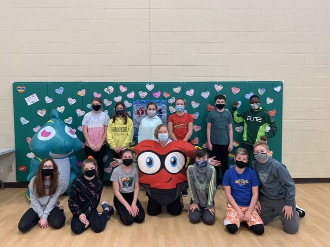 Sixth graders at St. Malachy's School in Geneseo help raise funds for Kids Heart Challenge / American Heart Challenge.