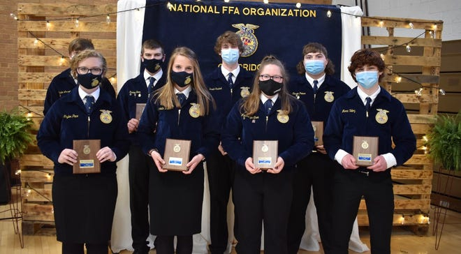 Eight Cambridge FFA students were Section 3 proficiency winners in 2020-21. Recognized at the awards program on Saturday, April 24, were, in front from left, Taylor Pace, agricultural communications; Miranda Reed, beef production entrepreneurship; Mackenzie Olson, forage production; and Meric Veloz, turf grass management, and in back, Kaden Larson, landscape management; Rodney Beam, diversified ag production; Brant Casteel, specialty animal production, and Carson Palmer, diversified livestock production. They advanced to District 1 competition.