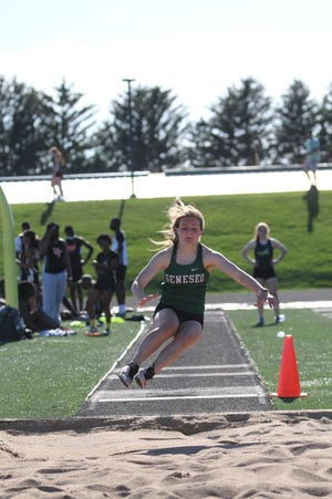 Geneseo's Brooke Boone finished in first place in the long jump.