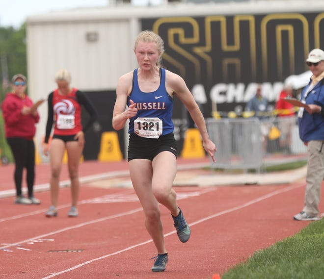Russell's Renee' Nichol won the Class 3A long jump on Friday at Cessna Stadium.