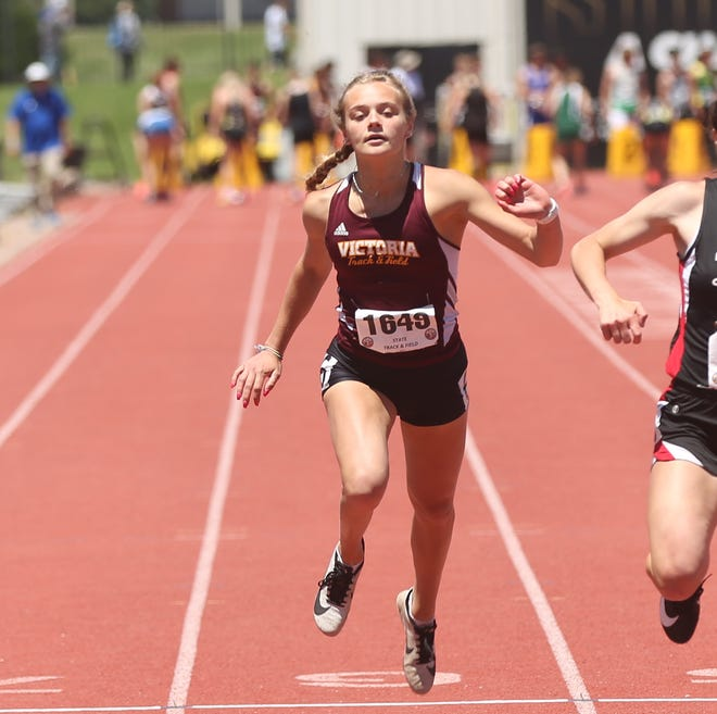 Victoria's Macy Hammerschmidt took three medals, including gold in the long jump during Saturday's Class 2A meet in Wichita.