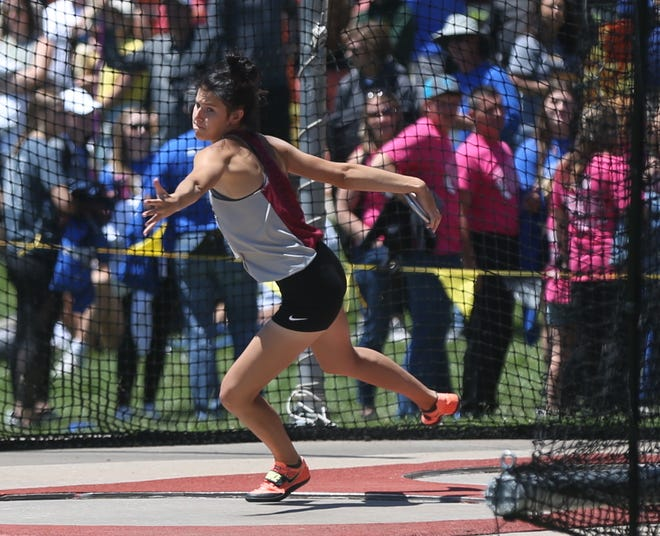 Plainville's Brooklyn Staab won the Class 2A state title in the discus.