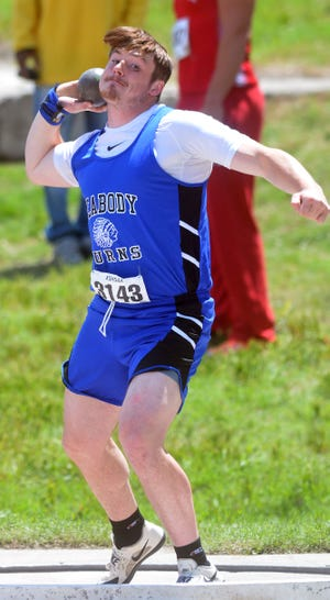 Peabody-Burns senior Gage Branson competes in the shot put at the Class 1A state meet.