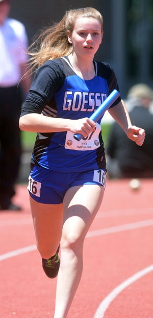 Goessel freshman Jaicee Griffin competes in a leg of the 4x800-meter relay in the Class 1A state meet.