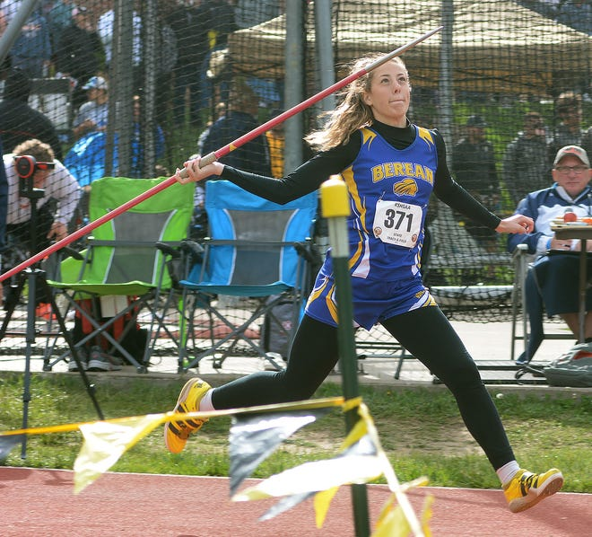 Berean Academy sophomore Lillie Veer competes in the javelin in the Class 2A state championships. Veer placed third, despite being seeded ninth.