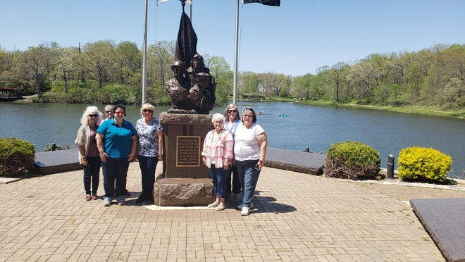 Members of the Abraham Lincoln Chapter NSDAR gathered at Veteran's Point in Weldon Springs State Park where they held the May meeting. The group also commemorated May as Military Remembrance month.  From left are: Jeanie Xamis, Rojean Logan, Lynn Logan, Gail Apel-Sasse, Linda Churchill, Marge Aper and Connie Block.