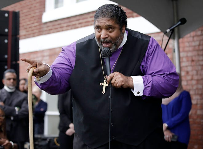 Bishop William J. Barber II, co-chair of the Poor People's Campaign and Repairers of the Breach president, speaks during the dedication of the Prayer Wall for Racial Healing at Vernon African Methodist Episcopal Church in May in Tulsa.