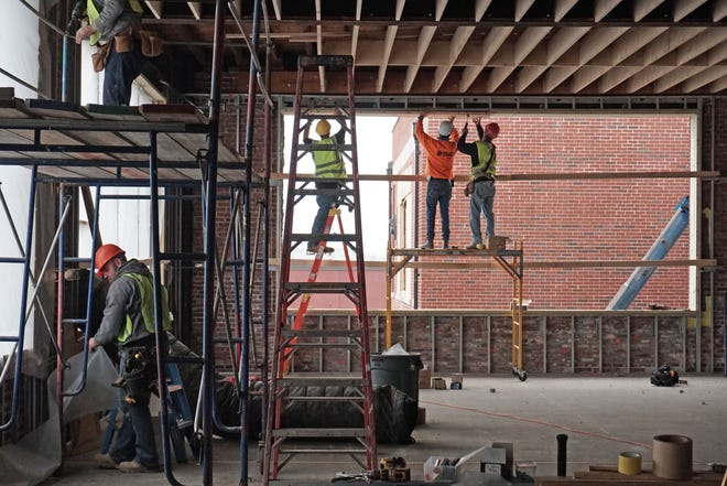 Nathanael Greene Elementary being renovated in 2018.