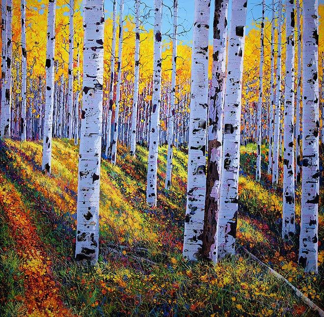 """Autumn Aspen Grove"" by Roberto Ugalde. The Impressions of Nature: Roberto Ugalde exhibit will continue through June 20."